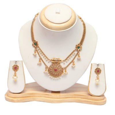 short wedding necklace sets in gold online
