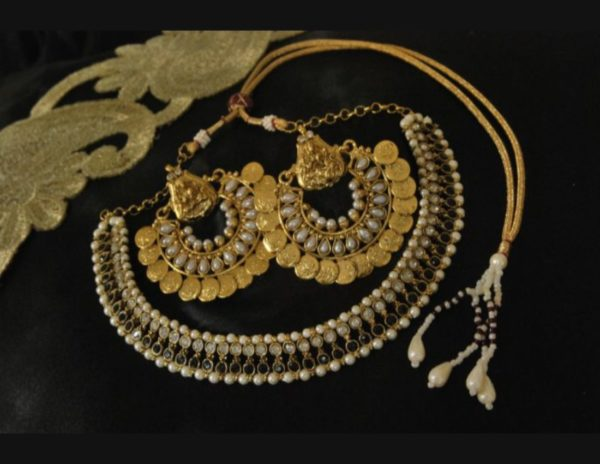 Black stone studded necklace with south indian temple jewelery