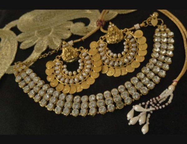 Kundan necklace with Lakshmi earrings
