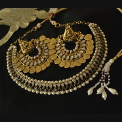 Ram Leela earrings kundan black stone studded wedding necklace set
