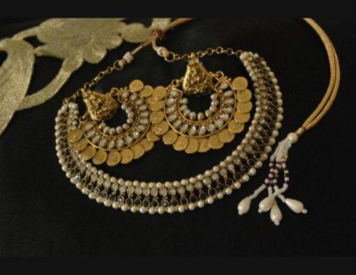 Ram Leela earrings kundan black stone studded wedding necklace set
