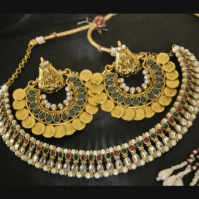 Ram Leela green earrings with multicolour wedding necklace set