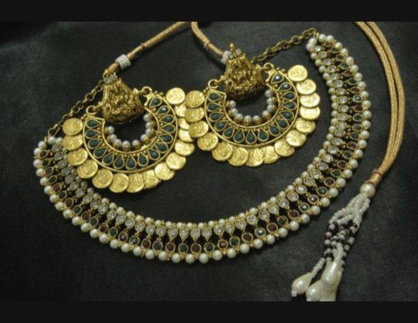 Ram Leela earrings kundan multicolour wedding necklace set