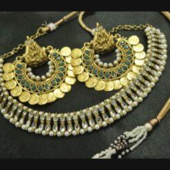 Ram Leela earrings kundan green wedding necklace set