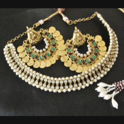 Multicolour Ram Leela earrings kundan wedding necklace set
