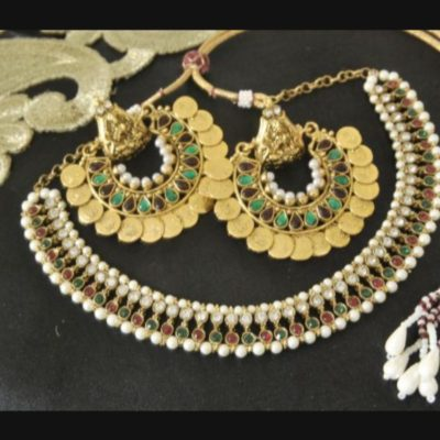 Multicolour Ram Leela earrings wedding necklace set