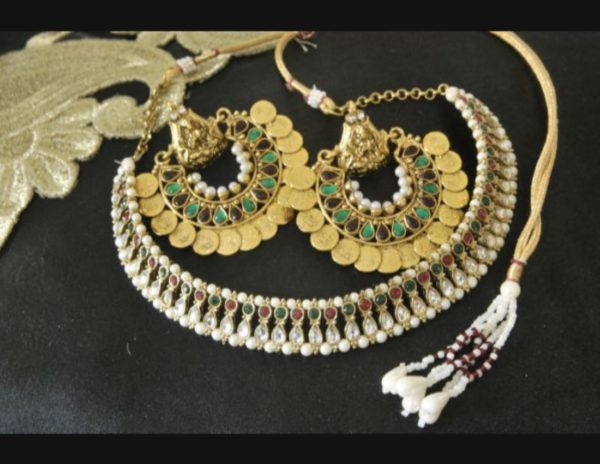 Multicolour Ram Leela earrings wedding choker necklace set