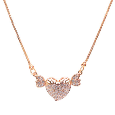 Heart pendent with chain rose gold