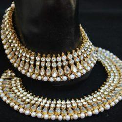 Bollywood White Stone Studded Payal