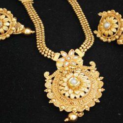 Artificial Jewellery Gold Tone pearl Phulkari Motif Long Haram Necklace Set
