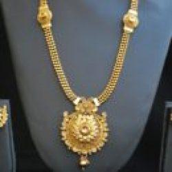 artificial  reeti fashions – gold tone Phulkari Round motif long haram style necklace set