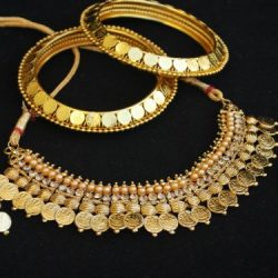 Laxmi Choker Coin Necklace Set Matching Laxmi Coin Bangles