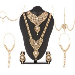 Imitation Traditional Imitation 8 piece Stone Studded Bridal sets