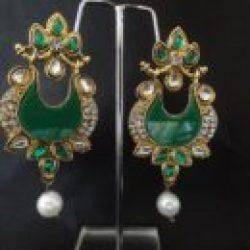 Elegant meenakari earrings with green necklace