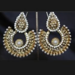 Stone Studded Pearl Earrings
