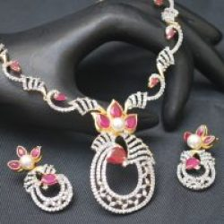 artificial ad necklace set in pink-1