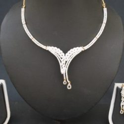 artificial american diamond studded necklace set