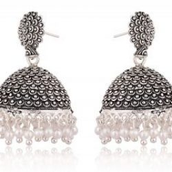 artificial black oxidized jhumki earrings for women-1
