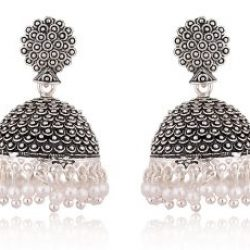 artificial black oxidized jhumki earrings for women
