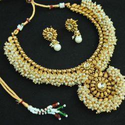 artificial designer beautiful kundan pearl copper necklace set-1