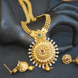 artificial elegantly carved multicolour stone studded indian jewlery
