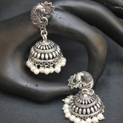 artificial everyday use peacock motif oxidized earrings