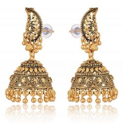 artificial gold and black base metal jhumki earrings for women-1
