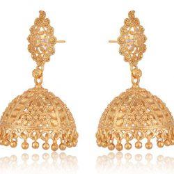 artificial gold base metal jhumki earrings for women-1