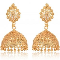 artificial gold base metal jhumki earrings for women
