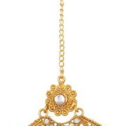 Artificial Gold Plated Dangle & Drop Earring with Maang Tikka Set for Women-4