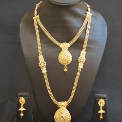 artificial gold stone studded beaded chain 2 layer necklace set-1