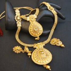 artificial gold stone studded beaded chain 2 layer necklace set