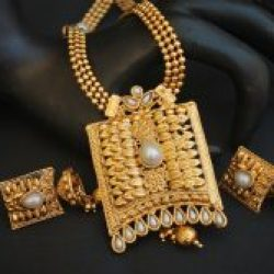 artificial gold tone artificial long haram necklace set
