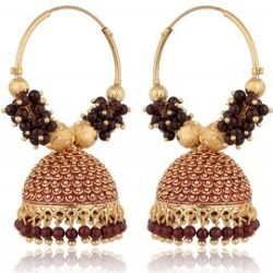 artificial golden base metal purple colour bead bali earrings for women-1