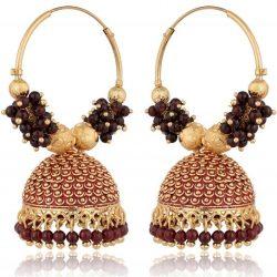 artificial golden base metal purple colour bead bali earrings for women-1