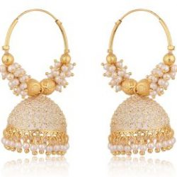 artificial golden clustered off white pearls base metal bali earrings for women-1