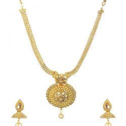 artificial golden short necklace necklace set-3
