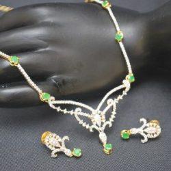 artificial green american diamond necklace set-1