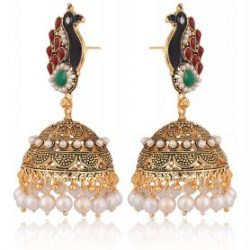 artificial green, maroon, white peacock motif base metal jhumki for women-1