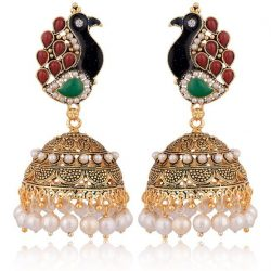 artificial green, maroon, white peacock motif base metal jhumki for women