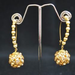 artificial imitation earrings gold and white stone studded hoops