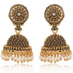 artificial imitation gold base metal jhumki earrings for women
