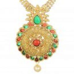 artificial imitation gold tone floral multicolour necklace set