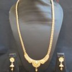artificial imitation gold tone jewelry set round motif with beaded chain-1