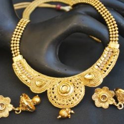artificial imitation gold tone jewelry set round motif with beaded chain