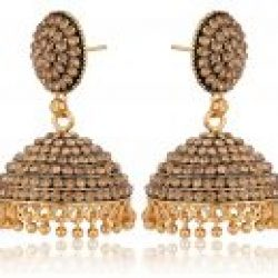 artificial imitation golden stone studded base metal jhumki earrings for women-1