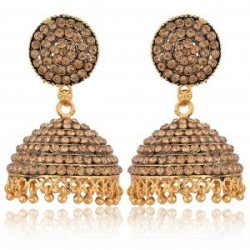 artificial imitation golden stone studded base metal jhumki earrings for women