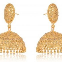 artificial imitation golden traditional base metal jhumki earrings for women-1