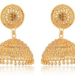 artificial imitation golden traditional base metal jhumki earrings for women