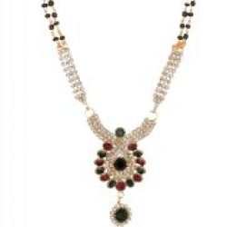 artificial indian traditional mangalsutra in round motif with red, green and white stones for women